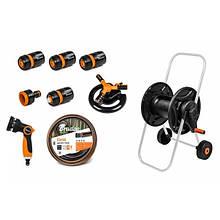 Комплект для поливу та зрошення. Шланг + зрошувачі + візок BLACK LINE, ECO-AG26020SET2 Польща