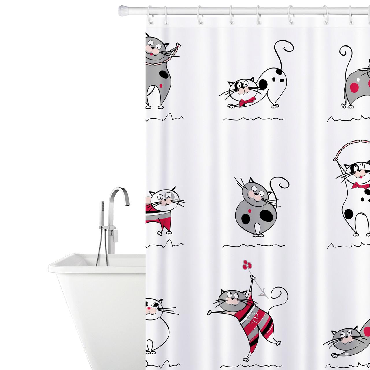Штора для душу Tatkraft Funny Cats з кільцями 12 шт 180х180 см (14664)