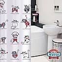 Штора для душу Tatkraft Funny Cats з кільцями 12 шт 180х180 см (14664), фото 2