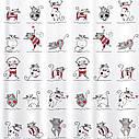 Штора для душу Tatkraft Funny Cats з кільцями 12 шт 180х180 см (14664), фото 3