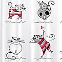 Штора для душу Tatkraft Funny Cats з кільцями 12 шт 180х180 см (14664), фото 4