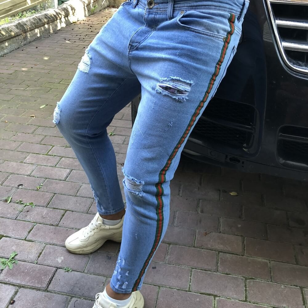 Martin Mixs Bleached Web Light Blue Jeans