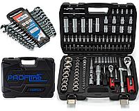 Набор инструмента 2в1 за 1840грн (Набор 108 ед.Profline +Набор ключей с ТРЕЩОТКОЙ в холдере 12 ед 8-19 мм), фото 1