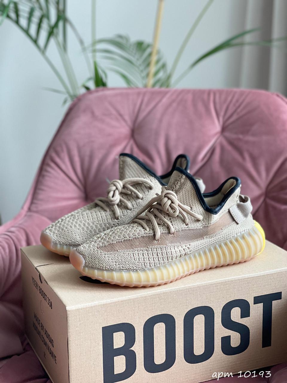 Модные женские кроссовки Adidas Yeezy Boost 350 v2,текстиль,бежевые