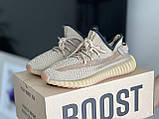 Модные женские кроссовки Adidas Yeezy Boost 350 v2,текстиль,бежевые, фото 5