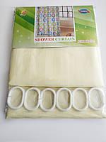 """Штора для ванної текстильна Chaoya """"Смужка"""", 180х180 см, бежева"""