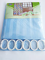 """Штора для ванної текстильна Chaoya """"Смужка"""", 180х180 см, блакитна"""