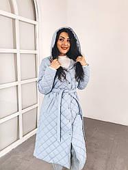 Пальто стеганное голубое