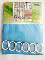 """Штора для ванної текстильна Chaoya """"Смужка"""", 180х180 см, ультра блакитна"""