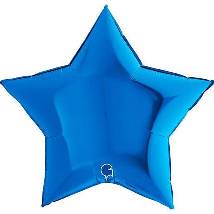 """Фол куля Grabo 36""""/90см ЗІРКА металік синій (Грабо), фото 2"""