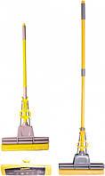 Швабра Eco Fabric насадка губка 33 см тверда, ручка телескоп. 120см, 2 віджим (EF-0035)