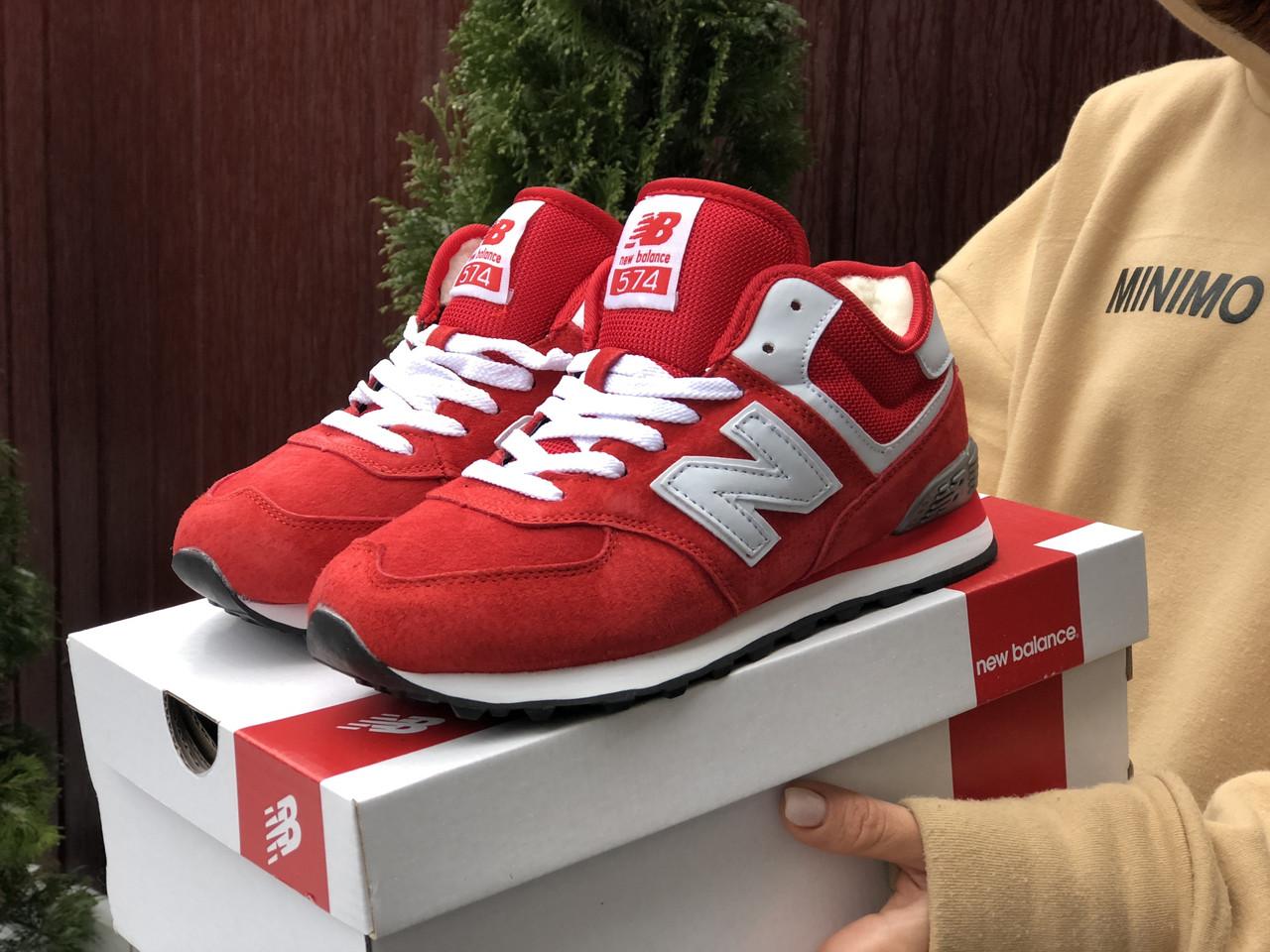 Зимние подростковые кроссовки New Balance 574,красные
