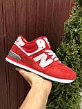 Зимние подростковые кроссовки New Balance 574,красные, фото 4