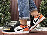 Чоловічі демісезонні кросівки Nike Air Jordan 1 Retro,білі з помаранчевим, фото 3