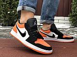 Чоловічі демісезонні кросівки Nike Air Jordan 1 Retro,білі з помаранчевим, фото 4