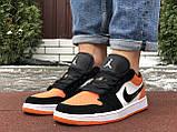 Чоловічі демісезонні кросівки Nike Air Jordan 1 Retro,білі з помаранчевим, фото 5