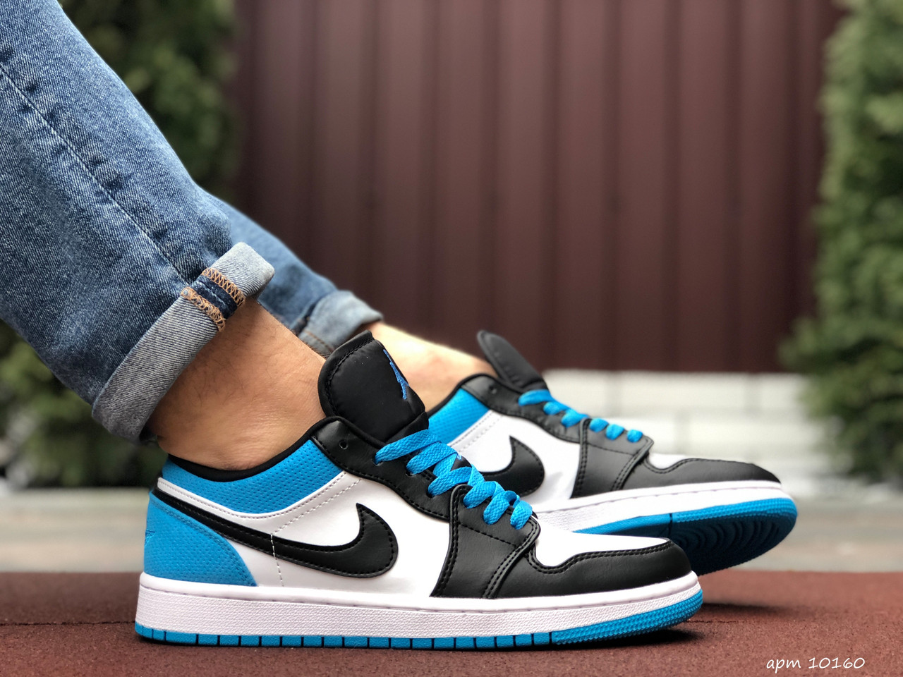 Мужские демисезонные кроссовки Nike Air Jordan 1 Retro,синие с черным