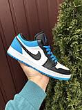 Чоловічі демісезонні кросівки Nike Air Jordan 1 Retro,сині з чорним, фото 2