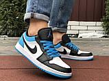 Чоловічі демісезонні кросівки Nike Air Jordan 1 Retro,сині з чорним, фото 3