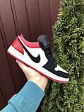 Мужские демисезонные кроссовки Nike Air Jordan 1 Retro,белые с черным/красным, фото 2
