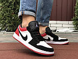 Мужские демисезонные кроссовки Nike Air Jordan 1 Retro,белые с черным/красным, фото 4