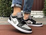 Чоловічі демісезонні кросівки Nike Air Jordan 1 Retro,білі з чорним/сірим, фото 5