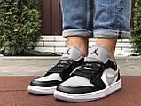 Чоловічі демісезонні кросівки Nike Air Jordan 1 Retro,білі з чорним/сірим, фото 6