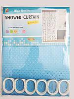 """Штора для ванної текстильна Chaoya """"Піку"""", 180х180 см, ультра-блакитна"""