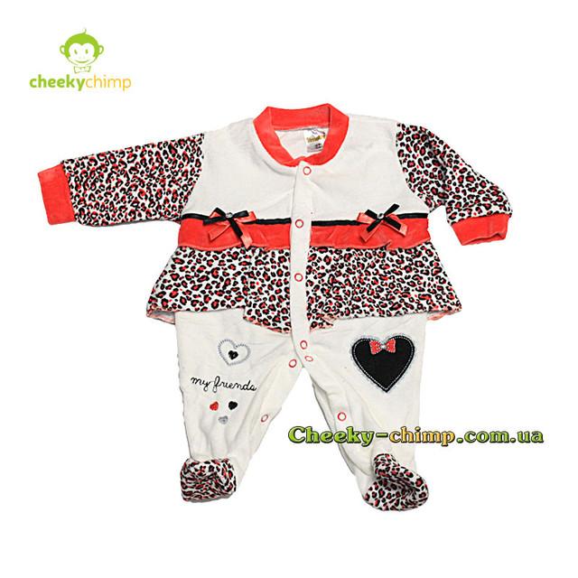Леопардовый человечек на девочку 62, 68, 74 см
