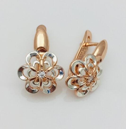 Жіночі сережки з камінням, Квітка 17 * 12 * мм, позолота + родій, ювелірна біжутерія Fallon