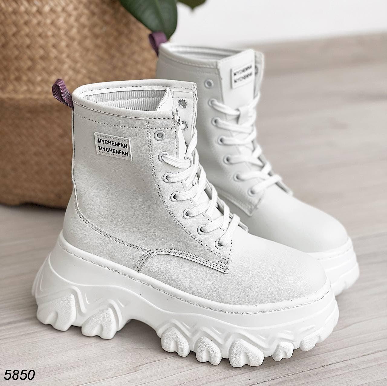 23 см Ботинки женские деми белые на толстой подошве платформе демисезонные из искусственной кожи кожаные кожа
