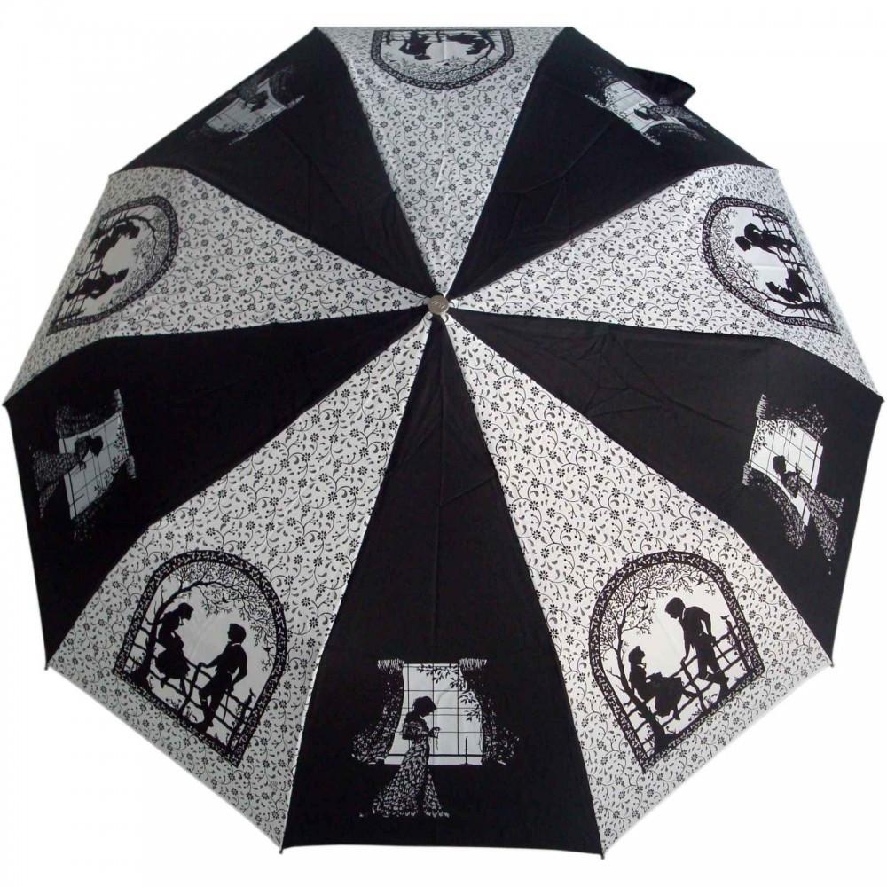 """Зонт ZEST, полуавтомат серия 10 спиц расцветка """"Date"""" черно-белый"""