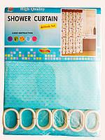 """Штора для ванної текстильна Chaoya """"Піку"""", 180х180 см, бірюзова"""