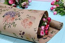 """Двухсторонняя серая крафт бумага с принтом """"Цветы в букете"""" 70см*10м"""