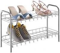 Полиця для взуття 2-ох рівнева 64*23*37см Metaltex, сріблястий (938007)