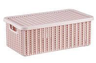Коробка В'ЯЗАННЯ 6л з кришкою IDEA, чайна троянда (М2370ЧТ)