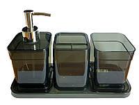 Набір аксесуарів у ванну кімнату Eco Fabric CUBE (4 предмета), прозорий чорний (TRL-2043-TB)