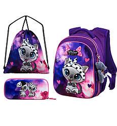 Набор рюкзак школьный ортопедический для девочки в 1-4 класс пенал и сумка для обуви Winner One R1-002