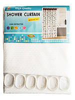 """Штора для ванної текстильна Chaoya """"Піку"""", 180х180 см, біла"""