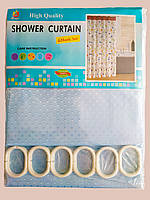 """Штора для ванної текстильна Chaoya """"Піку"""", 180х180 см, блакитна"""