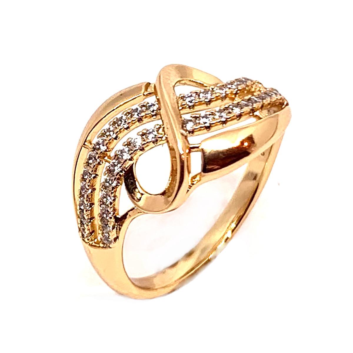 Кольцо Xuping из медицинского золота, белые фианиты, позолота 18K, 11988