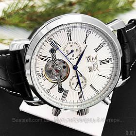 Оригинальные мужские наручные часы механика с автоподзаводом Jaragar 540 Black-Silver-White кожаный ремешок