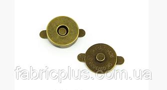 Кнопка магнитная для сумок  14 мм антик