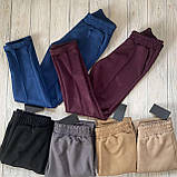Модні жіночі замшеві штани на резинці, з кишенями. Однотонні. Замша на дайвінг. 4 кольори, фото 3