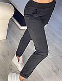 Модные женские замшевые штаны на резинке, с карманами. Однотонные. Замша на дайвинге. 4 цвета, фото 4