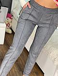 Модные женские замшевые штаны на резинке, с карманами. Однотонные. Замша на дайвинге. 4 цвета, фото 5