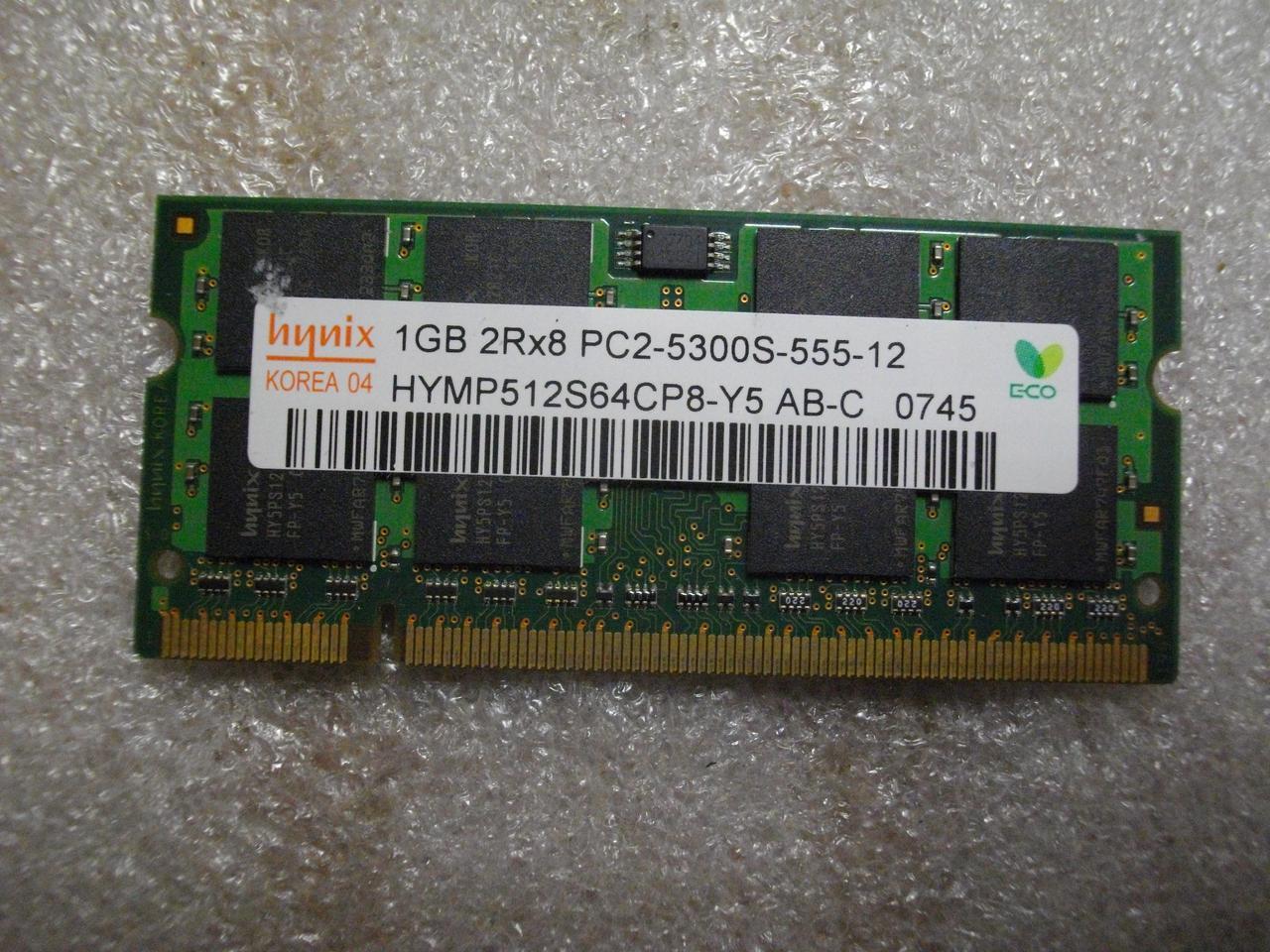 SODIMM DDR2 1GB оперативная память Hynix PC2-5300S-555-12, 2Rx8 для ноутбука бу.