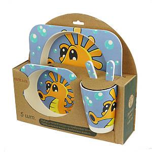 Набор детской бамбуковой посуды Supretto Морской конек (H0053-0009)