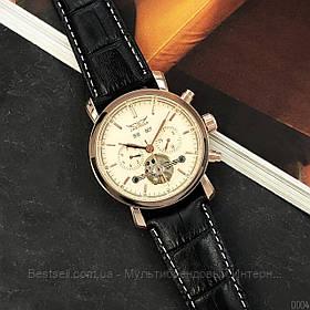 Оригинальные мужские наручные часы механика с автоподзаводом Jaragar 540 Black-Cuprum кожаный ремешок