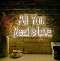 """Неонова вивіска """"All you need is love"""" 1000 mm x 450 mm з гнучкого неону, фото 1"""